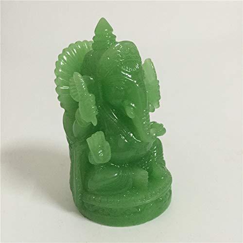 QWERTOUY Luminoso Ganesha Estatua de Buda Hecho a Mano Elefante de Piedra...