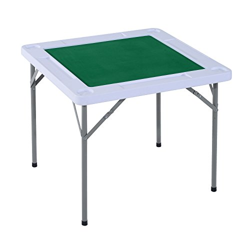 """HOMCOM 35"""" 4-Player Mahjong Game Portable Folding Table for Poker Dominoes Card with Cup and Coin Holders"""