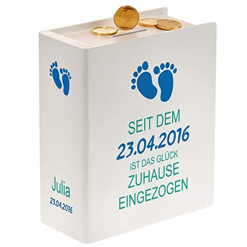 Sparbuch zur Geburt - Fußabdrücke (weiß): Spardose aus Holz mit Name und Datum personalisiert für Jungen und Mädchen - persönliche Geldgeschenke für das Baby in weiß oder Natur