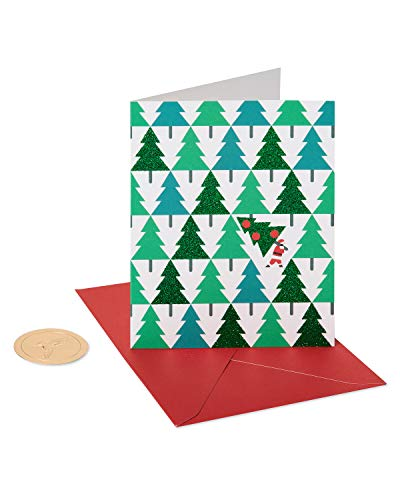 Papyrus Holiday Cards Boxed, Glitter Pine Trees with Santa (20-Count)