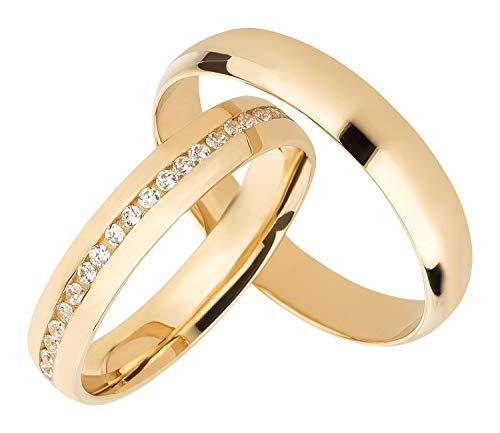 Ardeo Aurum Trauringe Damenring und Herrenring aus 375 Gold Gelbgold mit Zirkonia Eheringe 4 mm Breite Paarpreis