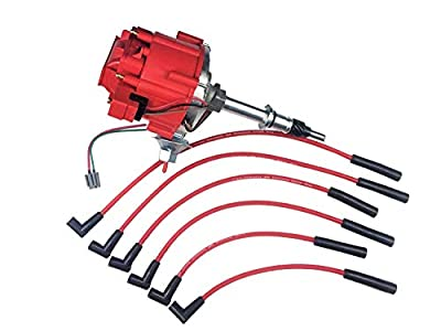 A-Team Performance HEI Distributor Red Cap and Spark Plug Wires Red Set Compatible with AMC Jeep Inline 6 Cylinder 232 258 CJ5 CJ7