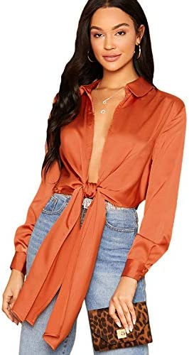SheIn Women s Bow Tie Satin Bodysuit Plunging Neck Sexy Long Sleeve Blouse Top Small Orange product image