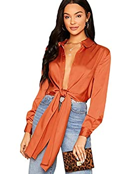 SheIn Women s Bow Tie Satin Bodysuit Plunging Neck Sexy Long Sleeve Blouse Top Small Orange