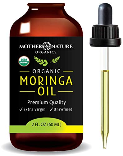 Organic Moringa Oil - Extra Virgin, Cold-Pressed, Unrefined - 2 Ounce Glass Bottle with Dropper - Natural Moisturizer For Skin Face, Body, Hair