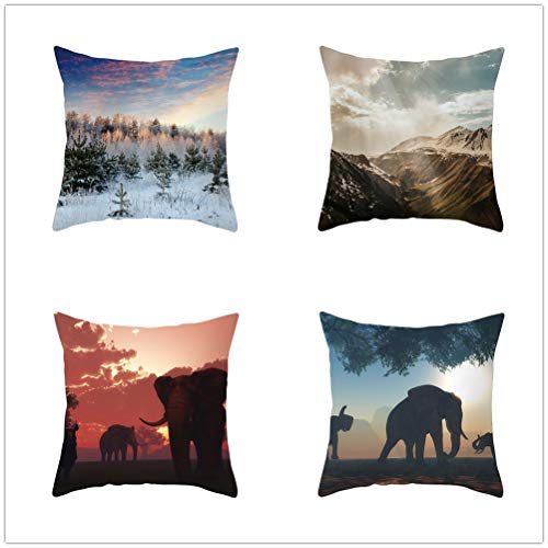 Throw Pillow Case Cushion Covers Landscape Elephant Velvet Soft Decorative Square Double-Sided Pillowcases for Livingroom Sofa with Lnvisible Zipper Car Home Decor Set of 4 T1540 60x60cm/23.4x23.4in