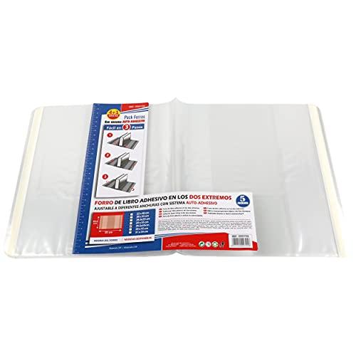 Forro de Libros Autoadhesivo, Ajustable y Transparente - Pack de 10 Forros 29,5x55 cm