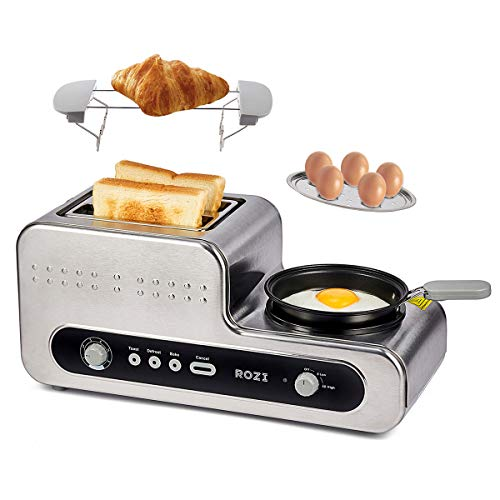 Toaster 2 Scheiben mit 6 Bräunungsstufen, Toaster Edelstahl mit Bratpfanne für Spiegelei/Gekochte Eier/Sandwich, 1230W (Silber)-Rozi