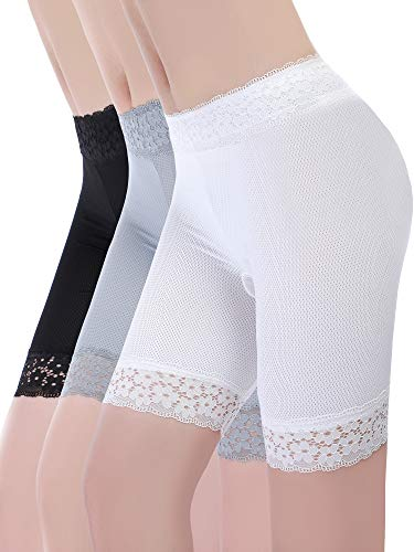 Boao 3 Stücke Spitze Shorts Unterwäsche Yoga Shorts Strecken Sicherheit Leggings Unterhose für Damen Mädchen (Set 3, XL - XXL Größe)