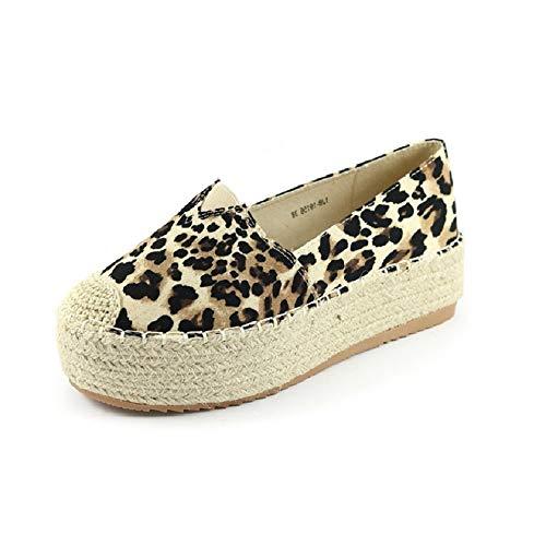 ZAALC - Calzado Alpargata Leopardo Esparto con Plataforma para Mujer (39 EU, Leopardo)