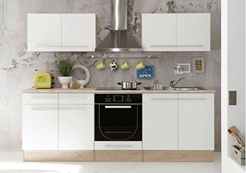 AVANTI TRENDSTORE - Bomi - Cucina in laminato di quercia Sonoma e bianco opaco, apparecchiature elettriche NON comprese, dimensioni LAP 240x204x60 cm