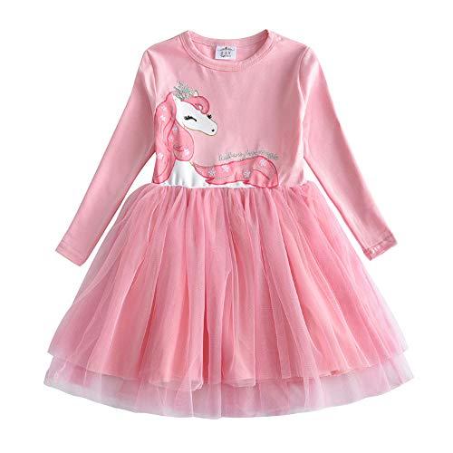 VIKITA Mädchen Kleider Langarm Kleid Blume Baumwolle Herbst Kinderkleidung LH4579 5T