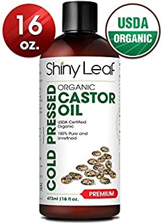 Castor Oil USDA Organic (16oz) Cold-Pressed 100% Pure Castor Oil, Hexane-Free For Hair Growth For Dry Skin, Hair Care & Eyelashes Natural Moisturizing & Healing Caster Oil by Shiny Leaf