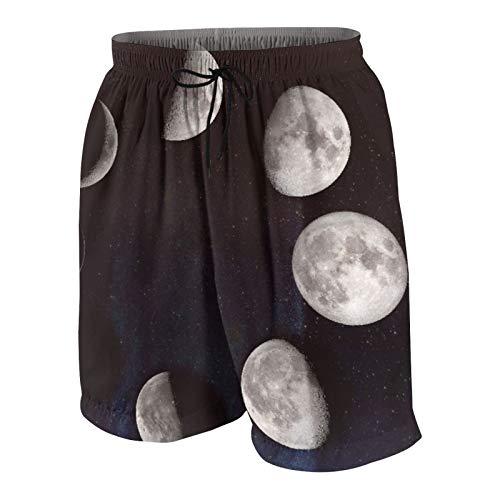 MAYBELOST Pantaloncini da Spiaggia da Uomo,Luna Crescente, Primo Quarto, Luna Crescente, Calzoncini da Bagno ad Asciugatura Rapida Costumi da Bagno con Fodera e Tasche in Rete