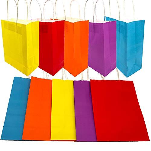 Aisamco 30 pz 5 Colori Sacchetti Borse Carta Kraft Colorate con Manici per Regalo Alimenti Dolci Paper Bags Compleanno Tea Party Matrimoni e Feste Celebrazioni