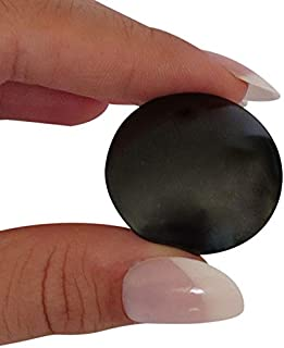 Shungite Worry Palm Stone Black Russian Natural Healing RFID Blocking - Root Chakra Balancing - EMF Personal Radiation Protection and Meditation Purification Grounding - Portable to Carry With You All