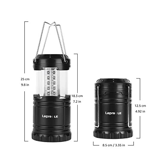 Lepro Portable LED Camping Lantern Outdoor 30 LEDs Flashlights IPX4 Water Resistant Lamp Battery Powered Light for… 7 Easy to Use. This lantern turns on by pulling up and turns off by pushing down, no button needed, very easy to use. Collapsible design allows you to adjust it for the suitable amount of light and conveniently fold it up for easy storage. Lightweight and Portable. The lamp is lightweight and small when being folded, you can easily store it in your cabin, backpack or survival kit, ideal for outdoor activities or using as an emergency light. Sufficient Brightness. With a 360-degree beam angle and 14-hour long lighting time, this lantern gives out sufficient light (140 lumen) to illuminate small places.