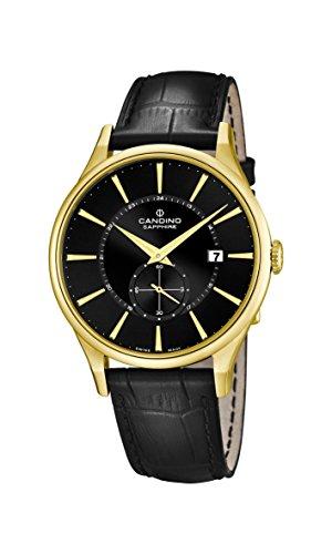 Candino Reloj Hombre de Cuarzo con Negro Esfera analógica Pantalla y Correa de Cuero Negro C4559/4