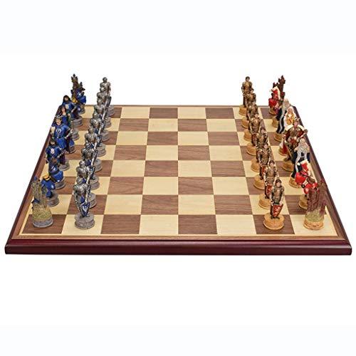 Estándar Conjunto de ajedrez de ajedrez de la figura tridimensional MDF Tablero de ajedrez, colección de gama alta de ajedrez internacional establece regalos creativos para hombres padre Competición p