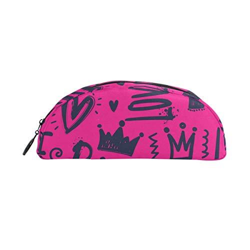 Lawenp Estuche de lápices semicircular con patrón de dinosaurios Porta lápices de gran capacidad con bolsa de maquillaje cosmético con cremallera
