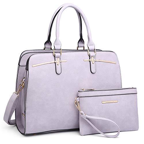 Dasein Women Satchel Handbag Shoulder Purse Top Handle Work Bag Tote Bag With Matching Wallet (Purple)