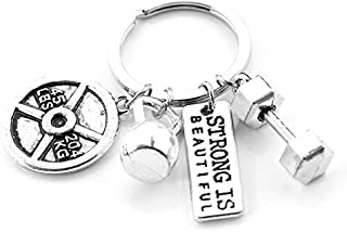 Fitness Gym Keyring with Quotes Weight Plate Dumbbell and Kettlebell Exercise Strong is Beautiful Charm Pendant Keychain Gifts for Daddy Husband Boyfriend