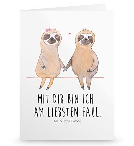Mr. & Mrs. Panda Einladungskarte, Hochzeitskarte, Grußkarte Faultier Pärchen mit Spruch - Farbe Weiß