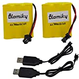 Blomiky 2 Pack 3.6V 700mAh AA Nicd Rechargeable Battery Pack with SM 2 Pin Plug and USB Charger Cable for RC Cars 3.6V Battery and USB 2