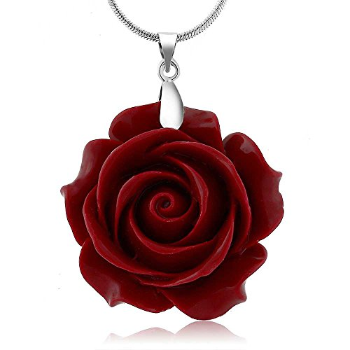 Gem Stone King 35mm Red Simulated Coral Carved Rose Flower Pendant with 16inches+2inches Extender Chain