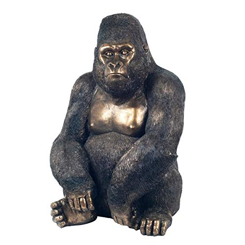 Figura Decorativa de Resina Gorila Dorado Acabado Bronce. Adornos y Esculturas. Animales. Decoración Hogar. Regalos Originales. 28 x 22 x 39 cm.