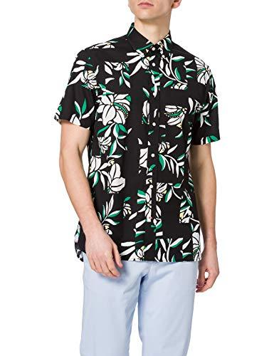 Tommy Hilfiger Patchwork Floral Print Shirt S/S Camisa, Negro/Marfil/Multicolor, L para Hombre