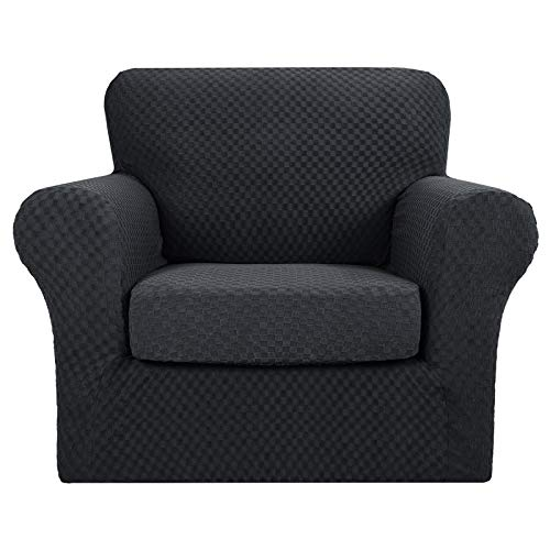 MAXIJIN 2 Piece Newest Jacquard Chair Covers with Arms Super Stretch Non Slip Chair Slipcover for Living Room Dogs Pet Friendly Elastic Sofa Couch Protector Armchair Cover (1 Seater, Black)