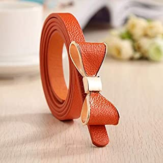 Luxury and Exquisite Female Belts for Women Style Summer 13 Color Women Belt Luxury Brand Colorful Bow Leather Belt Ladies Waist Ceinture Femme (Belt Length : 105CM, Color : Orange)