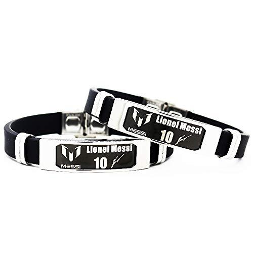 Lorh's store Fußball Cristiano Ronaldo Lionel Messi Neymar inspirierende Unterschrift verstellbare Armbänder CR7 Sport Silikon Armband 2 Stück (Lionel Messi)