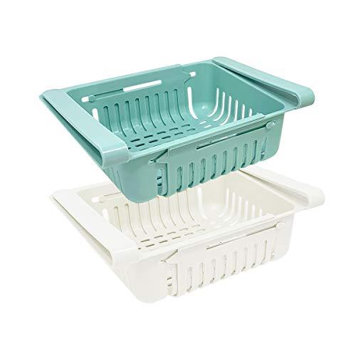Juego de 2 organizadores nevera organizador cocina | Organizador de cajones de plástico para nevera | Organizador nevera retráctil (azul, blanco)