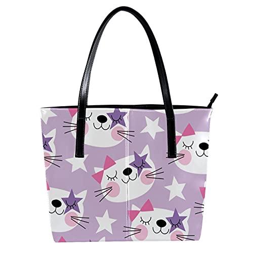 LORVIES Brillenmodell Stern Katze weiß lila Schultertasche PU Leder Handtasche Handtasche Damen