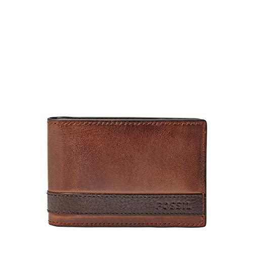Fossil Men's Quinn Leather Slim Minimalist Bifold Front Pocket Wallet, Brown