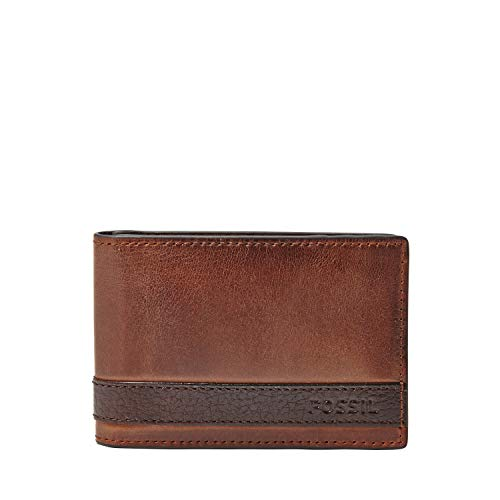 Fossil Men's Quinn Leather Bifold Wallet, Brown