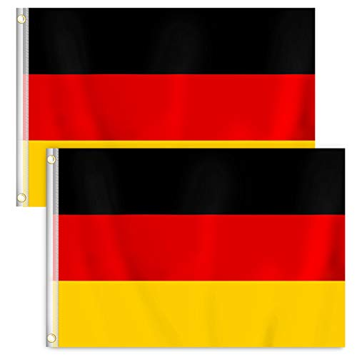 RYMALL 2 Stück 90 x 150 cm Deutschland Flagge,Deutsche Fahne,Germany National FlagBundes und Länderflagge aus wetterfestem Material mit Metallösen (DE 90 x 150 cm)