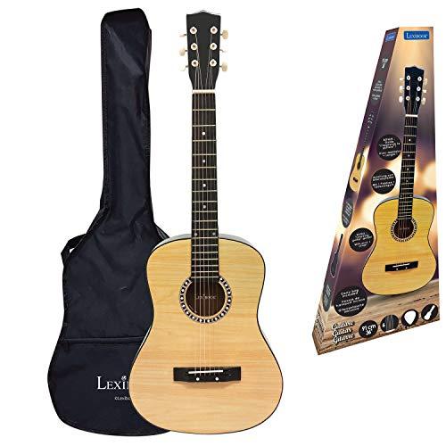 LEXIBOOK- Guitarra Acústica, 91 cm, Guía de Aprendizaje, 6 Cuerdas de Nylon, Funda de Transporte incluida, Madera/Negro