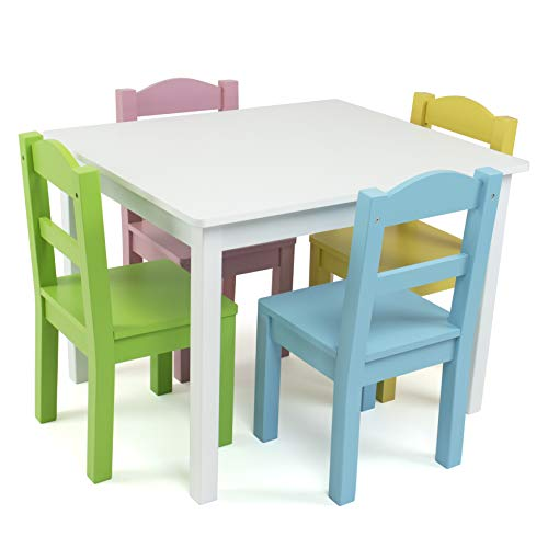 Humble Crew Kids Wood Table & 4 Chair Set Primary, White/Pastels