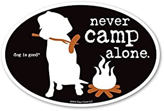 Dog is Good Never Camp Alone Oval Magnet