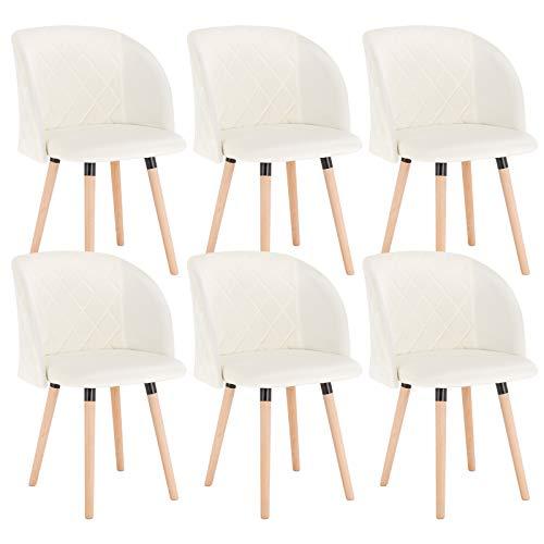 EUGAD Set de 6 Sillas Comedor Vintage Diseño Sillas Nórdicas Moderna de Terciopelo Patas de Madera