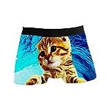 Hombre Boxer Divertidos calzoncillos tipo bóxer de gato que practica surf para hombres, niños, jóvenes, ropa interior suave y cómoda, poliéster, licra Bóxer Retro