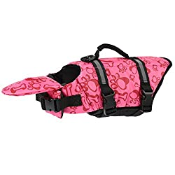 Dog Life Jacket Has Great Buoyancy, Adjusttable Belts and Rescue Handle