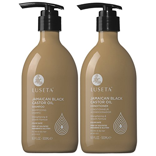 Luseta Castor Oil Shampoo and Conditioner Set 2x16.9oz - Jamaican Black Castor Oil for Hair Growth - Sulfate Free Shampoo for Thin & Dry Hair