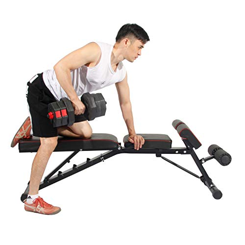 Soges Multi-Functional Dumbbell Bench Adjustable Height Incline Bench, Multi-Workout Abdominal Hyper Back Extension Bench, Home Strength Training Fitness Workout Station, PSBB004
