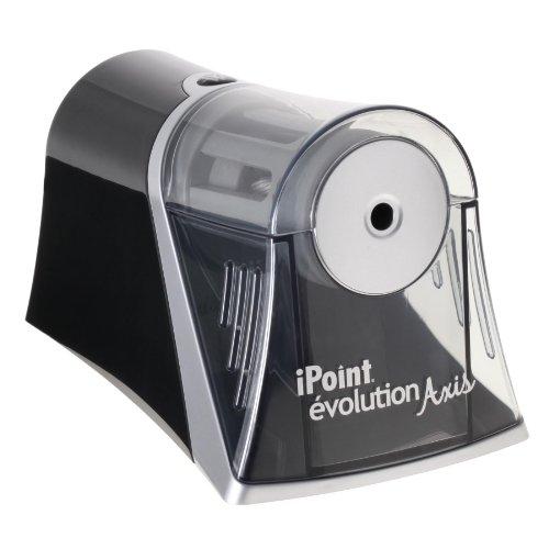 Westcott E-15510 00 iPoint Axis Elektrischer Anspitzer mit automatischem Spitz-Stopp, grau/schwarz