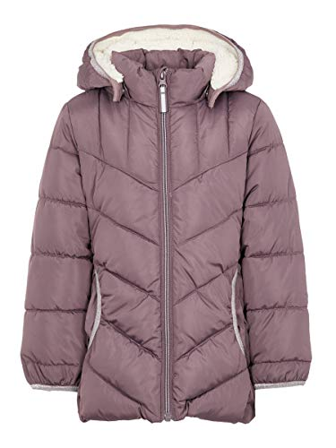 NAME IT Damen Wattierte Jacke Teddyfutter 104Black Plum