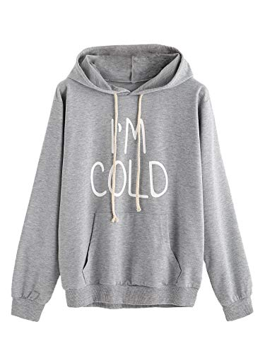 SweatyRocks Women's Hoodie Letter Print Long Sleeve Hooded Sweatshirt Pullover Top Grey Large